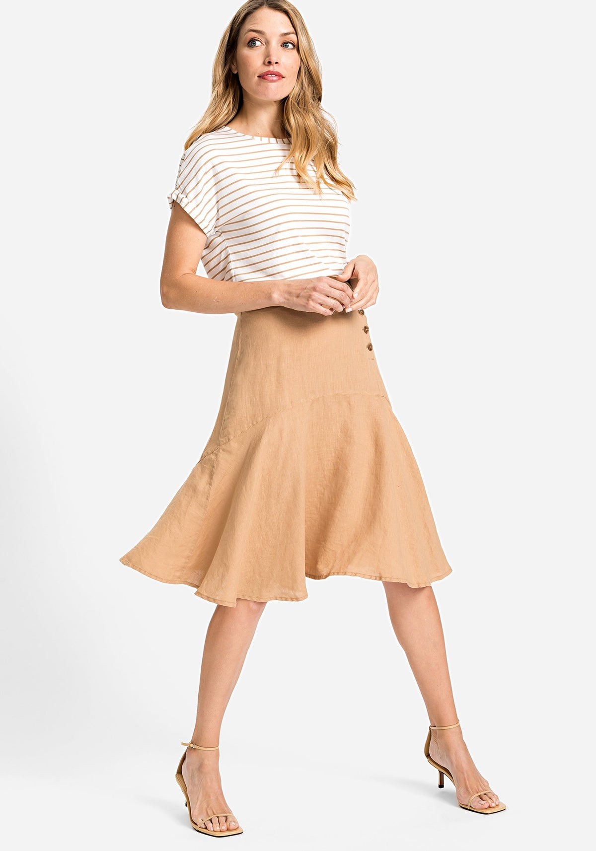 100% Linen Midi Skirt with Front Button Detail and Rear Waist Elastic