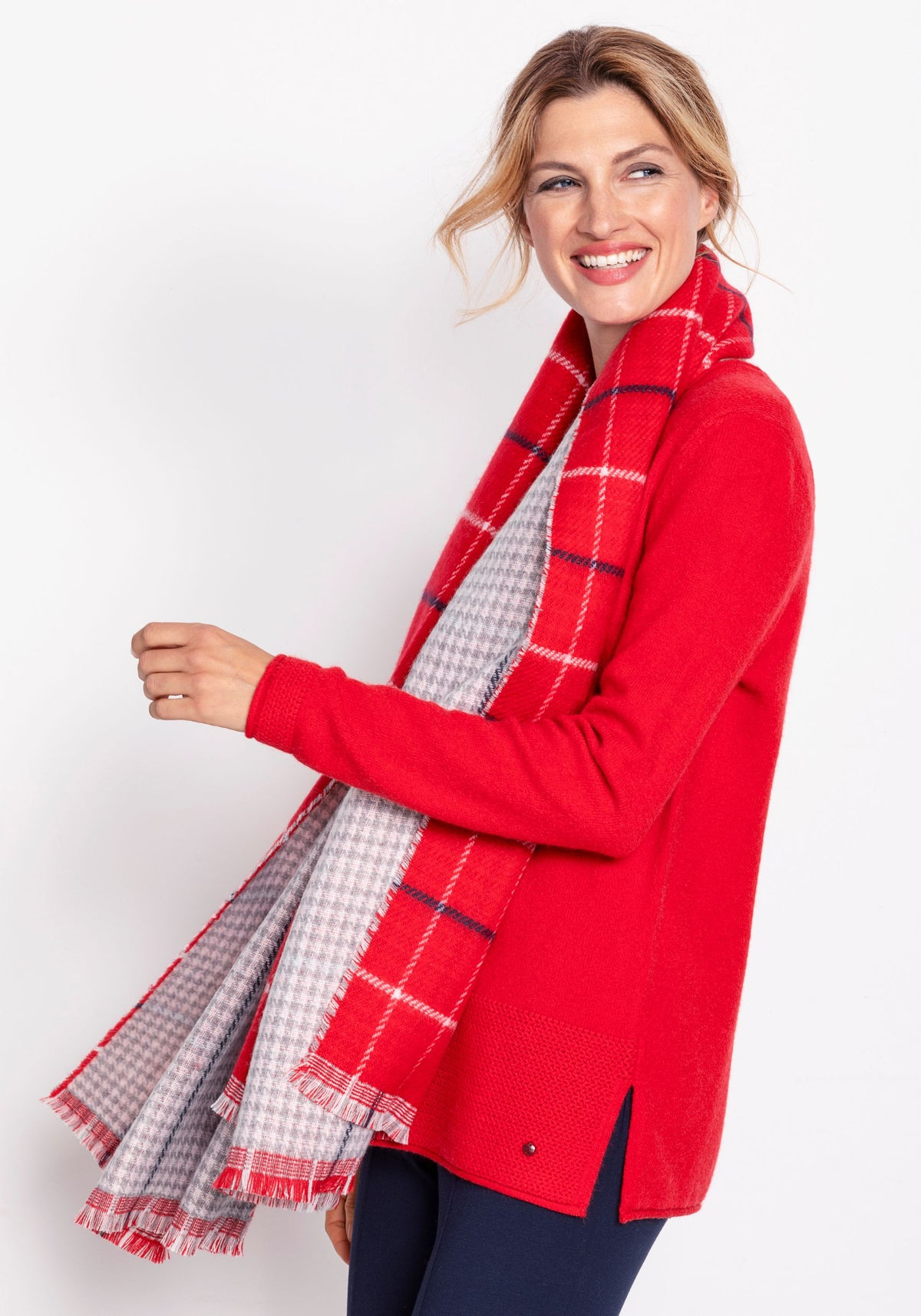 Oversized Check Print Scarf