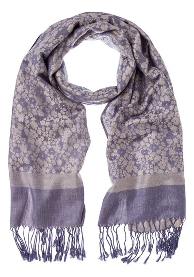 Floral Scarf with Fringe Trim