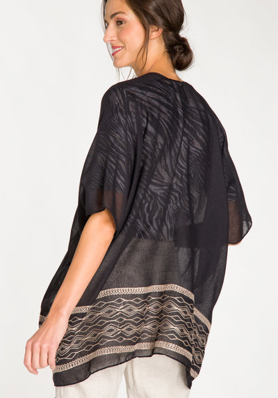 Sheer Cape with Embroidery & Tassles