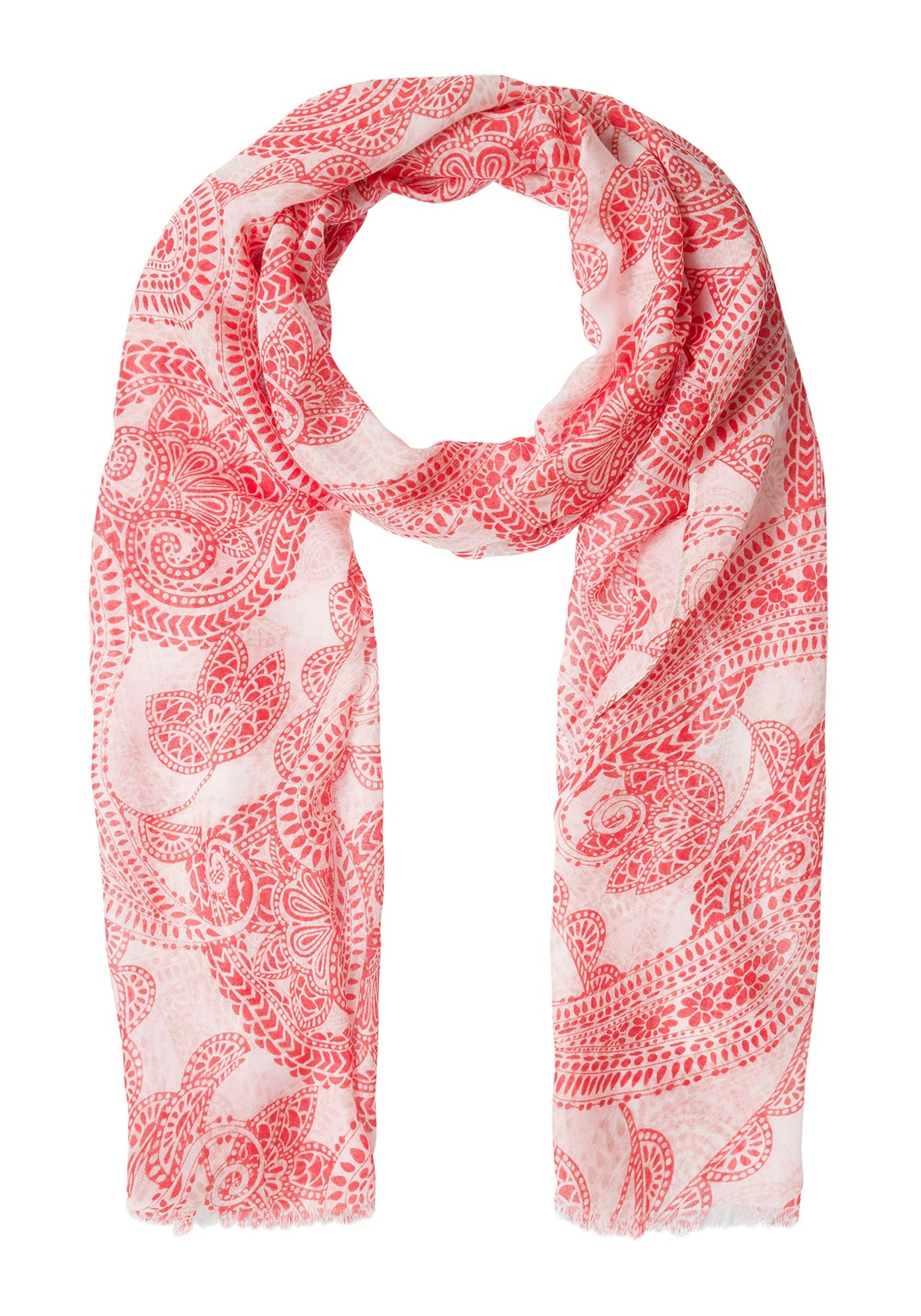 Paisley Print Scarf with Frayed Edge Detail