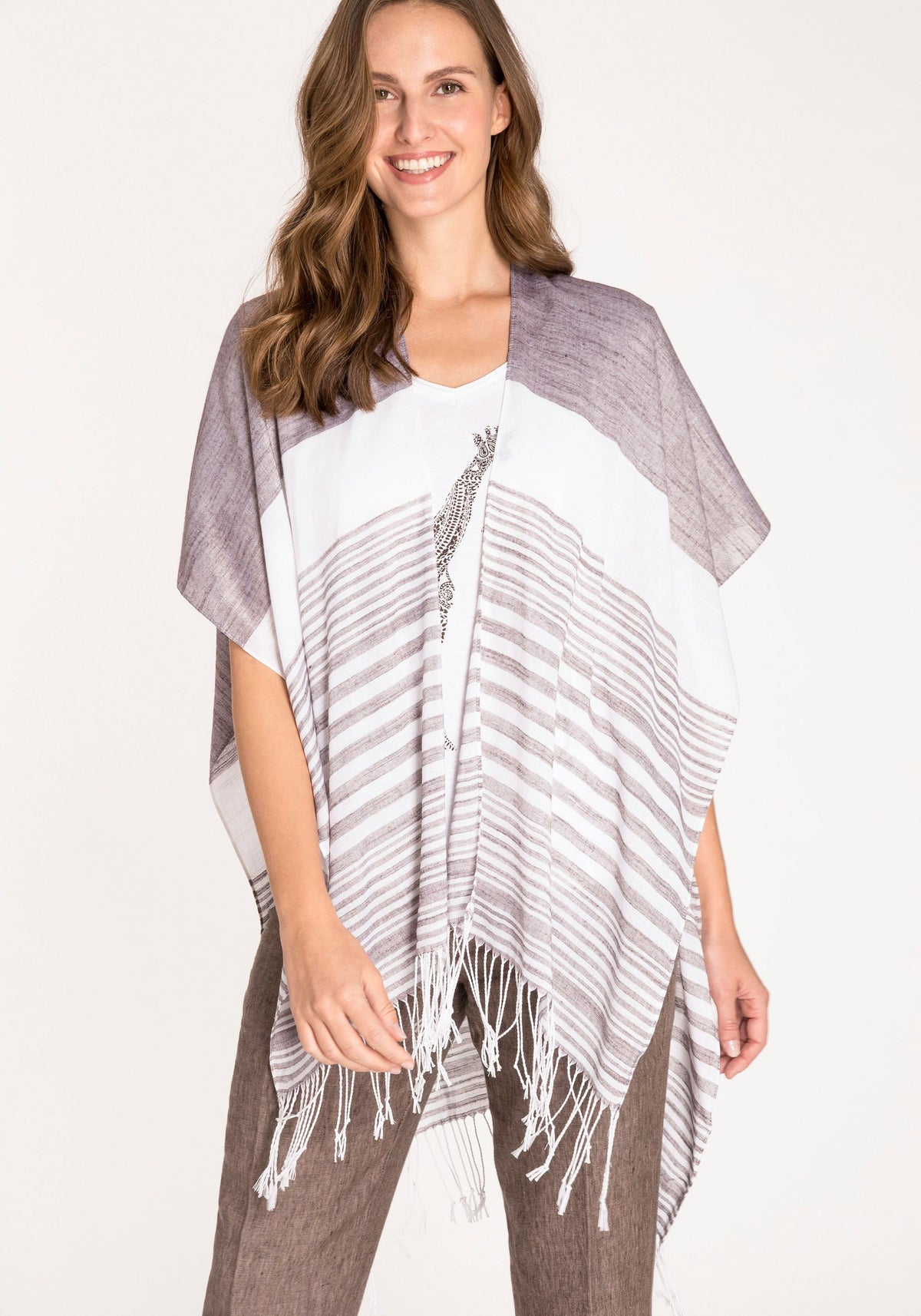 Lightweight Graduated Stripe Cape with Fringe