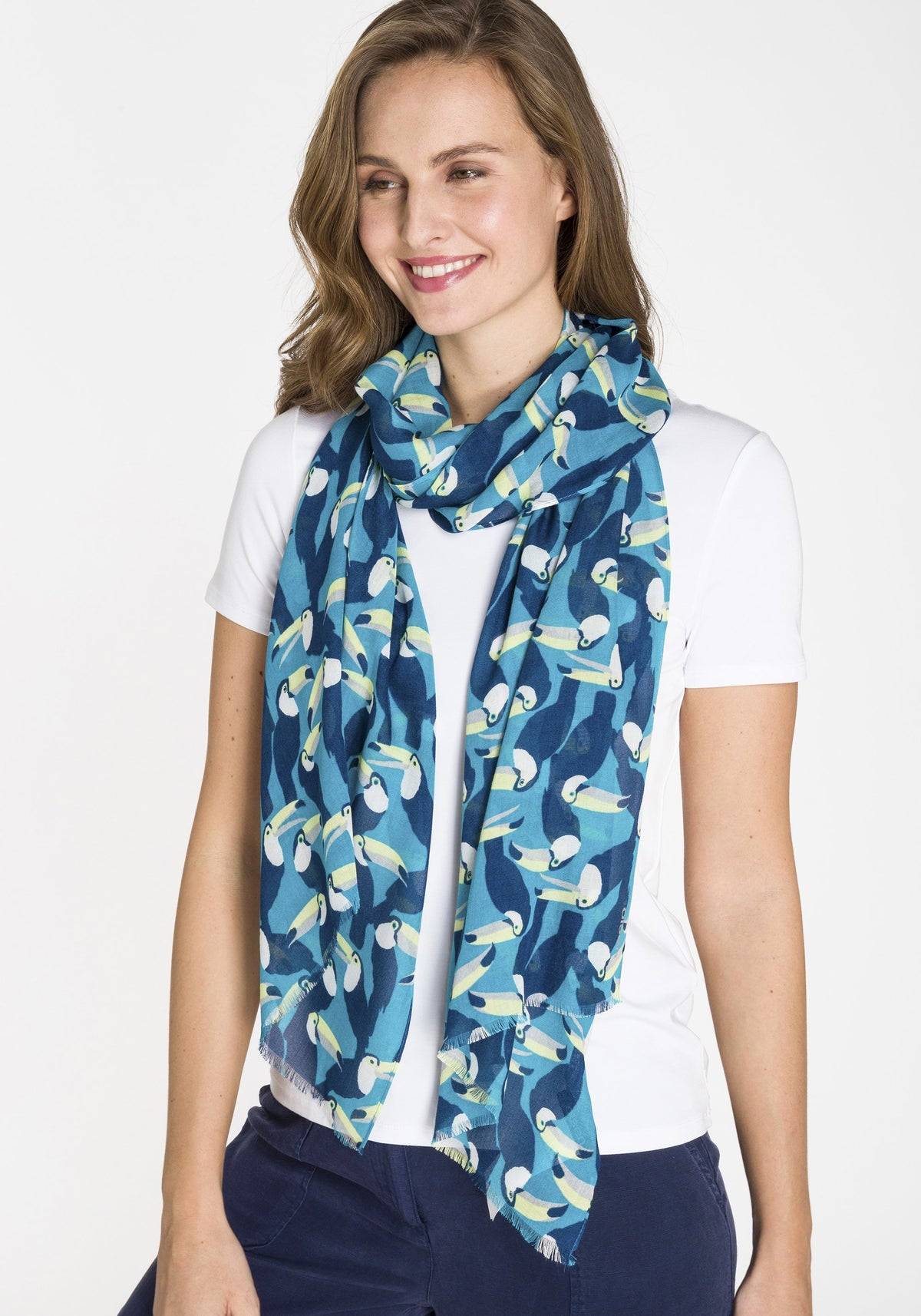 Toucan Print Scarf with Frayed Edge Detail