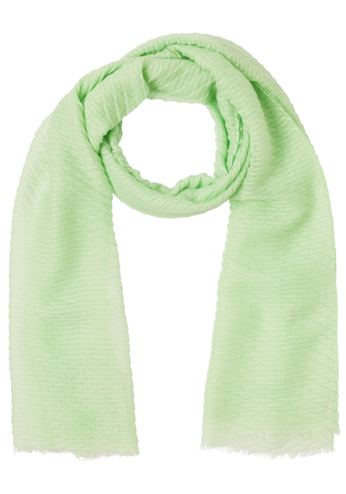 Pleated Scarf with Frayed Edge Trim