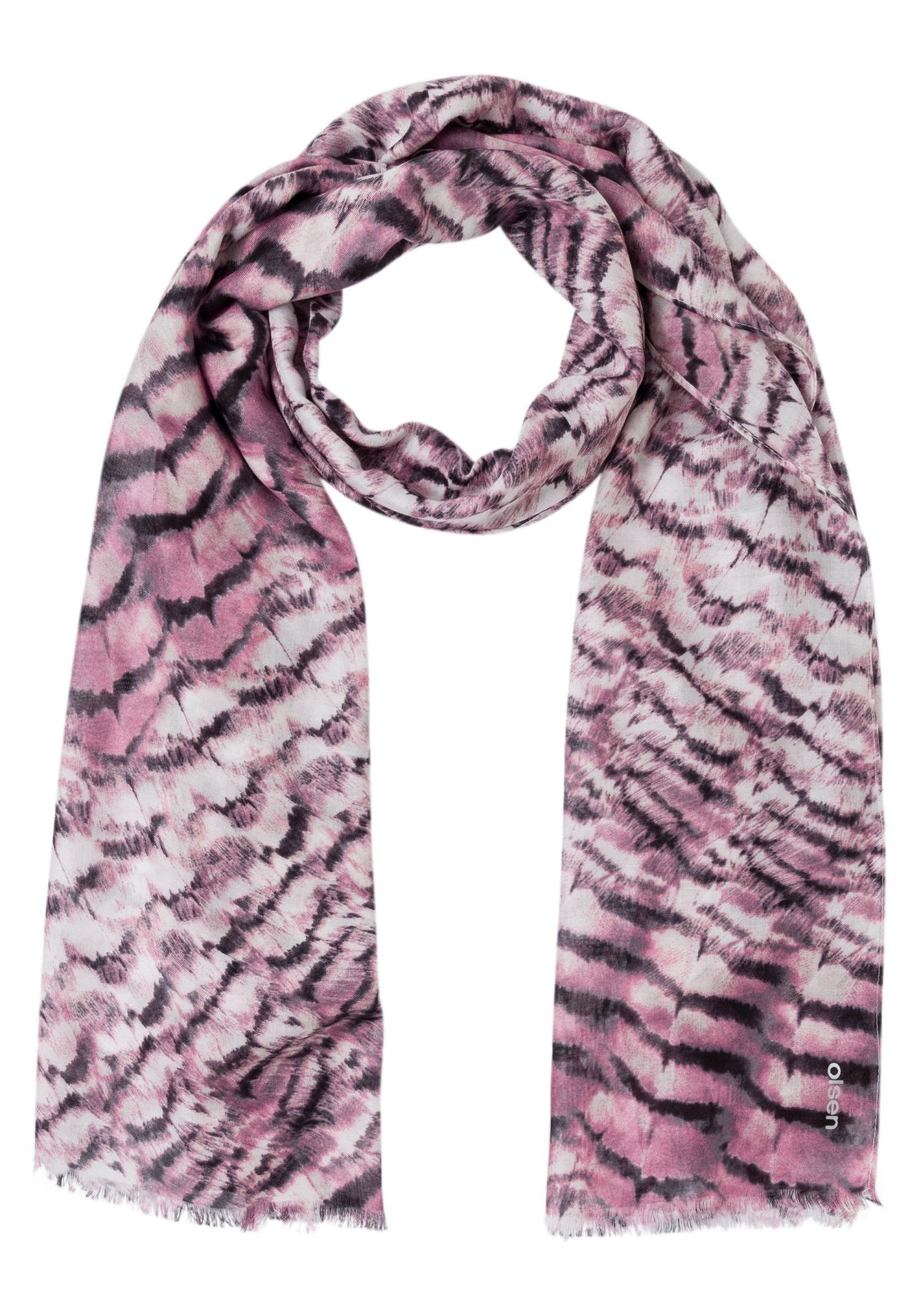 Feather Print Scarf with Frayed Edge