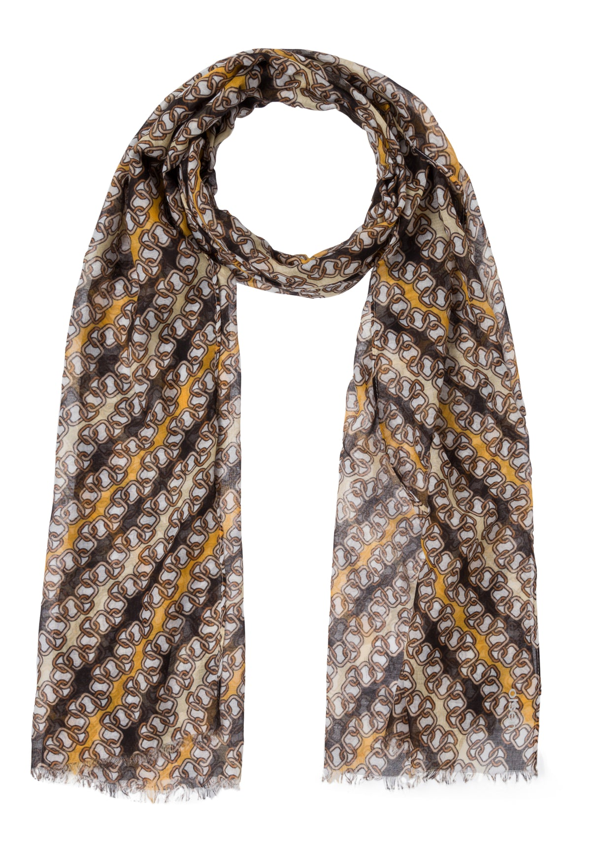 Chain Print Scarf with Frayed Edge Trim