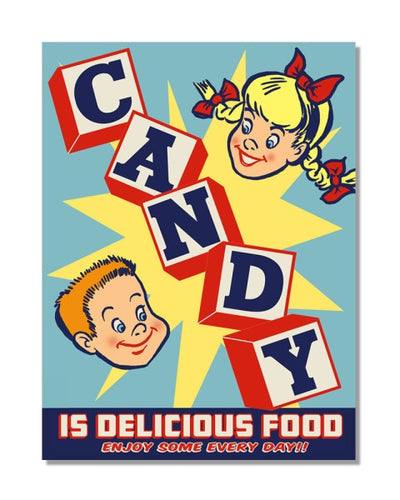 Candy Is Delicious Food American Vintage Bar Metal Wall Sign