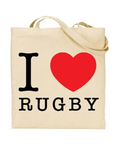 I Love (Heart) Rugby Canvas Shopper Tote Bag