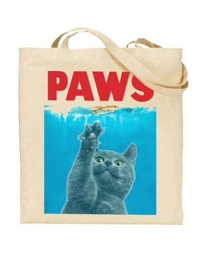 PAWS Cat JAWS Parody Canvas Shopper Tote Bag