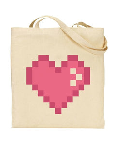 Pixel Pink Heart Canvas Shopper Tote Bag
