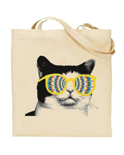Trippy Cat GIF Style Internet Meme Canvas Shopper Tote Bag