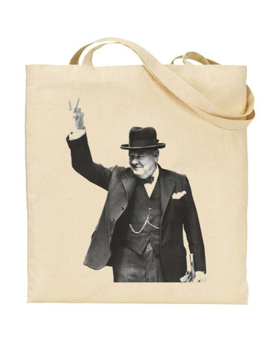 Winston Churchill Victory - World War 2 - V for Victory Canvas Shopper Tote Bag