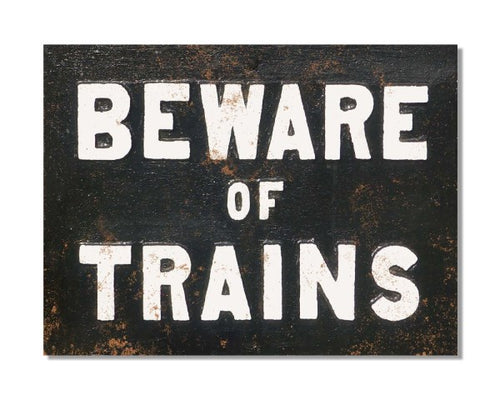 Beware of Trains Safety Sign - British Railways Train Poster Bar Metal Wall Sign