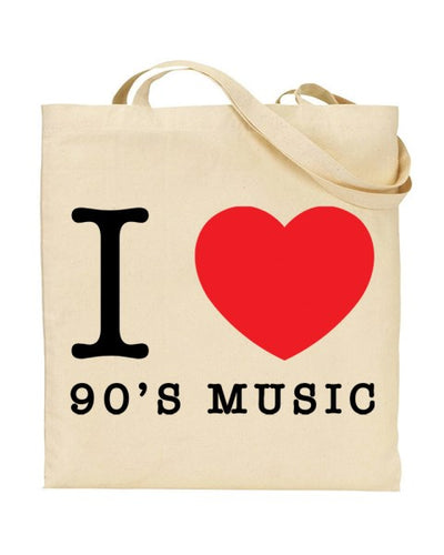 I Love (Heart) 90's Music Canvas Shopper Tote Bag