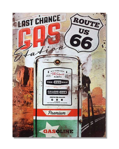 Last Chance Gas Station Route 66 Vintage Bar Metal Wall Sign