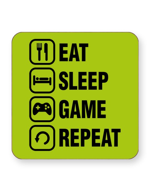 Eat Sleep Game Repeat - Video Gamer - Barware Home Kitchen Drinks Coasters