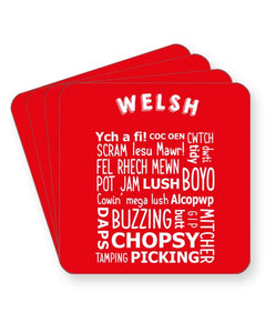 Welsh Slang Words - Funny Wales Dialect - Barware Home Kitchen Drinks Coasters