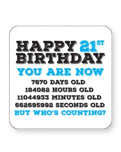 Happy 21th Birthday - Who's Counting - Barware Home Kitchen Drinks Coasters