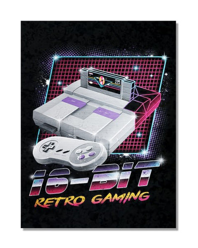 16 Bit Retro Gaming - Video Games Gamer Bar Metal Wall Sign