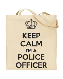 Keep Calm I'm a Police Officer Canvas Shopper Tote Bag