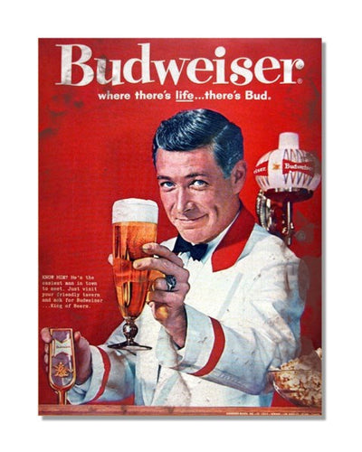 Budweiser King Of Beers Advert Vintage Bar Metal Wall Sign