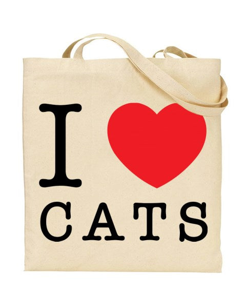 I Love (Heart) Cats Canvas Shopper Tote Bag