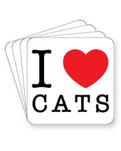 Load image into Gallery viewer, I Love Cats - Barware Home Kitchen Drinks Coasters