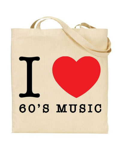 I Love (Heart) 60's Music Canvas Shopper Tote Bag