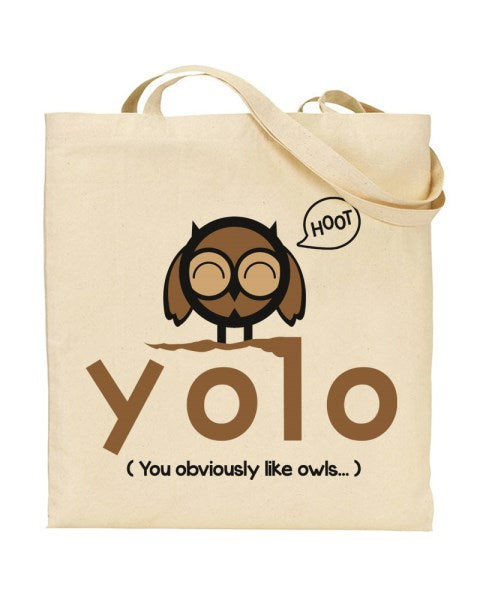 YOLO - You Obviously Like Owls Canvas Shopper Tote Bag