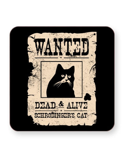 Schrödinger's Cat Wanted - Barware Home Kitchen Drinks Coasters