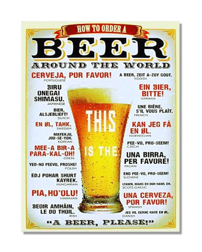 How to Order a Beer Around The World Vintage Metal Wall Sign