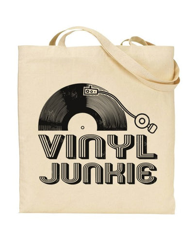 Vinyl Junkie Record Collector Canvas Shopper Tote Bag