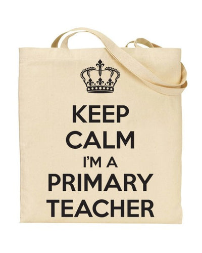 Keep Calm I'm a Primary Teacher Canvas Shopper Tote Bag