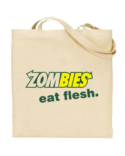 Zombies Eat Flesh Subway Parody Canvas Shopper Tote Bag