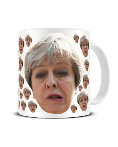 Theresa May Prime Minister Gurn Face Pattern Meme Funny Ceramic Mug