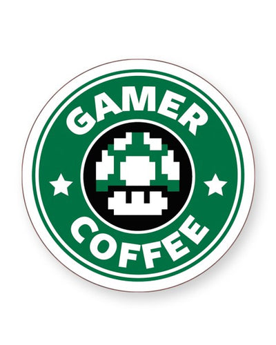 Gamer Coffee Mario Starbucks Logo Parody - Barware Home Kitchen Drinks Coasters