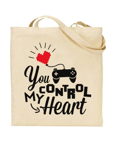You Control My Heart Video Gamer Love Canvas Shopper Tote Bag