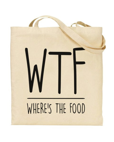WTF - Where's The Food Canvas Shopper Tote Bag