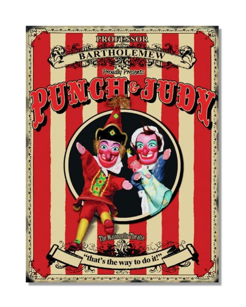 Punch And Judy Puppet Show - Metal Advertisement Sign