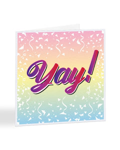 Yay! - Colourful Typography - Congratulations Greetings Card