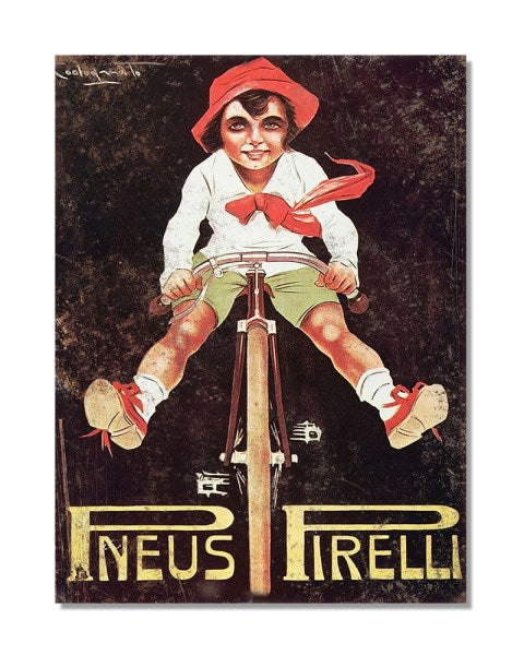 Pneus Pirelli - Vintage Bicycle Advertisement Wall Sign