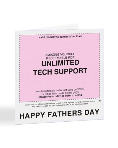 Unlimited Tech Support Voucher - Father's Day Greetings Card