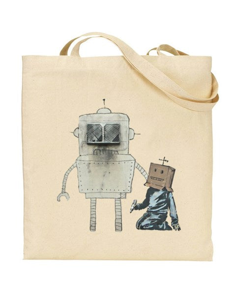 Banksy Robot Boy - Graffiti Art Canvas Shopper Tote Bag