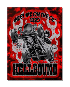 Meet Me on The Ol' 1320 HELLBOUND - Vintage Automotive Metal Garage Sign
