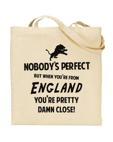 Nobody's Perfect - ENGLAND - Canvas Shopper Tote Bag