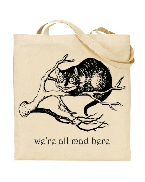 We're All Mad Here Alice In Wonderland Inspired Canvas Shopper Tote Bag