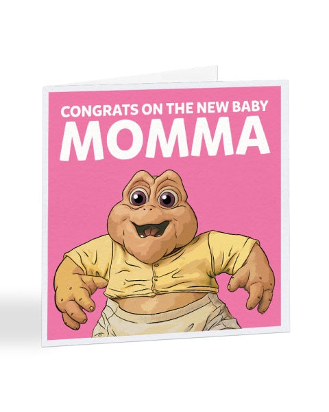Congrats On The New Baby Momma - Dinosaurs - New Baby Greetings Card