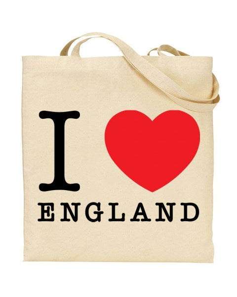I Love (Heart) England Canvas Shopper Tote Bag