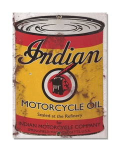 Indian Motorcycle Oil - Vintage Automotive Metal Garage Wall Sign