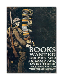 Books Wanted For Our Men In Camp - Vintage War Metal Wall Sign